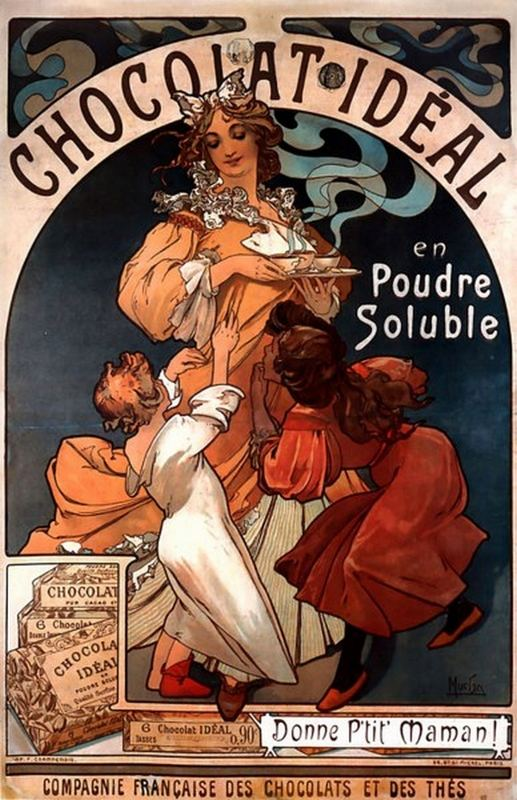Chocolat12 Ideal Mucha Stampa Ristampa Poster pittore