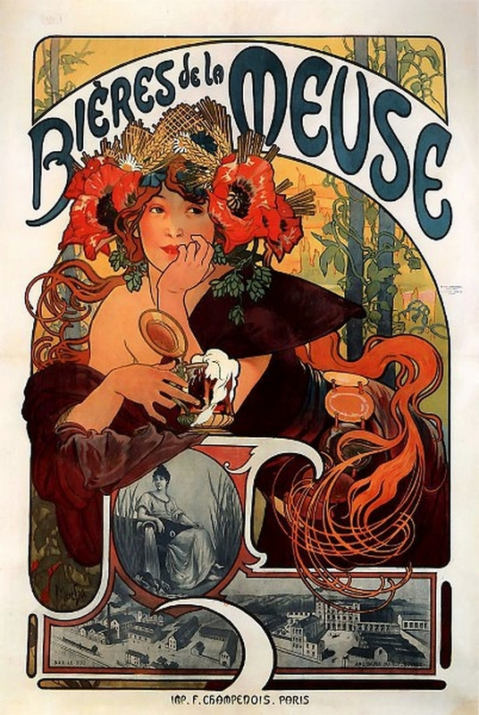 Bieres Meuse 19 Mucha Stampa Ristampa Poster pittore