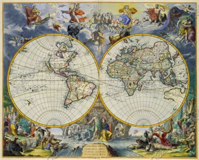 World Mappamondo in 2 emisferi 1683 033