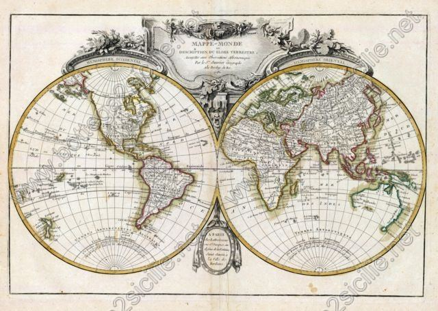 World Mappamondo Janvier Geografo 1782 044
